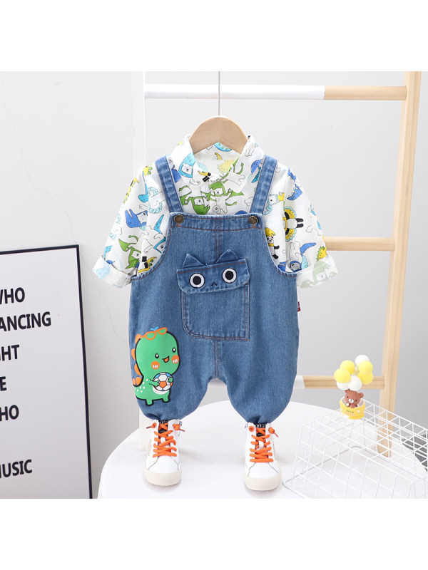 【9M-4Y】Boys Cartoon Printed Long Sleeved Shirt Strap Pants Two Piece Set
