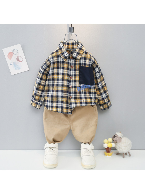 【9M-4Y】Boys Plaid Long-sleeved Shirt And Pants Two-piece Suit