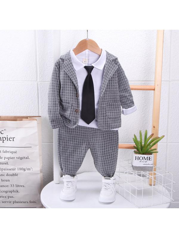 【9M-3Y】Boys Fashion Checkered Suit Three Piece Set
