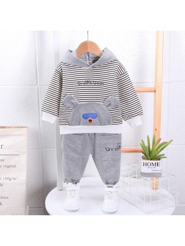 【9M-3Y】Boys Striped Sweatshirt Pants Two Piece Set