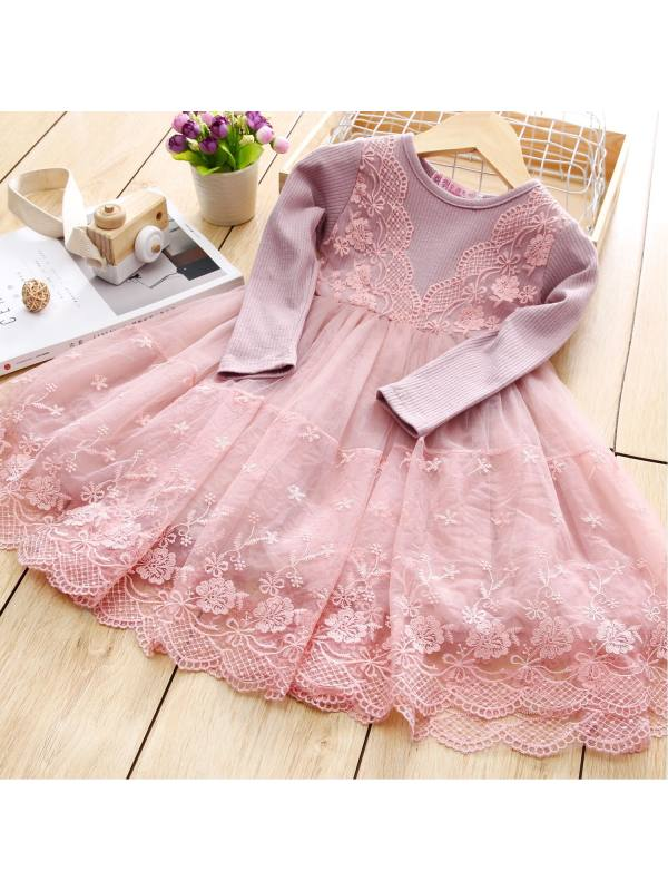 【2Y-9Y】Girls Lace Stitching Long-sleeved Dress