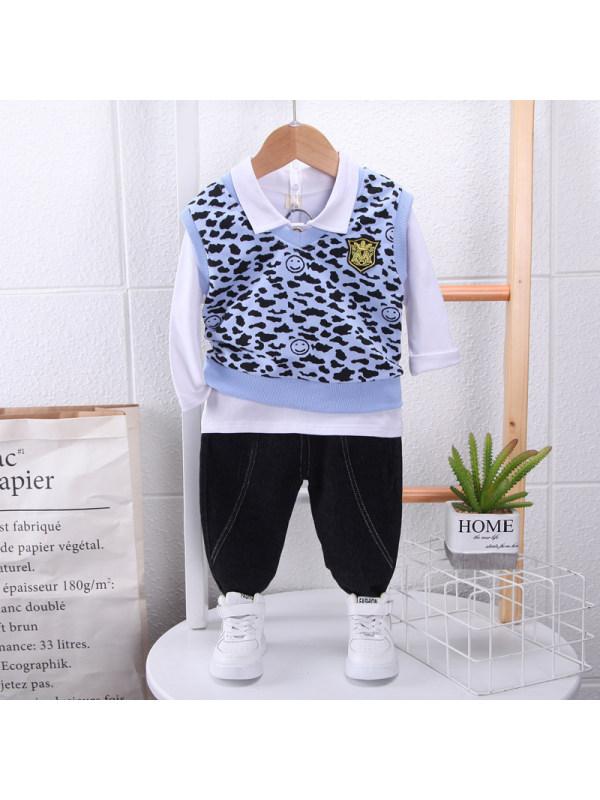 【9M-3Y】Boys Leopard Print Waistcoat Shirt Pants Three-piece Suit