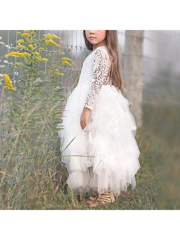 【2Y-9Y】Girls Long-sleeved Flower Lace Gauze Dress