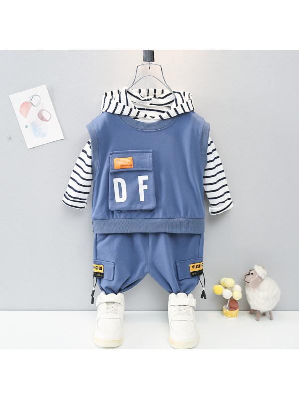 【9M-4Y】Boys Fashion Vest Long Sleeve Top Pants Three Piece Set