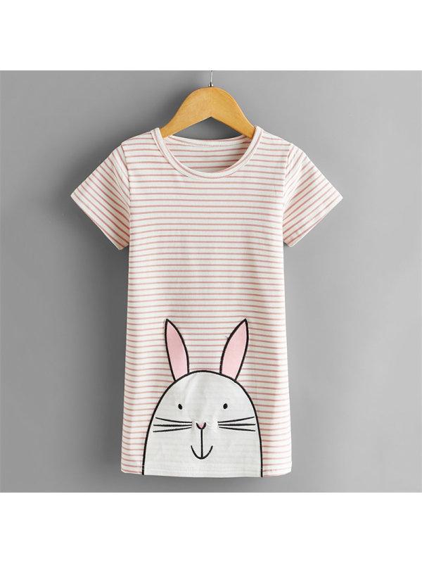 【2Y-7Y】Girl Rabbit Stripe T-shirt Dress