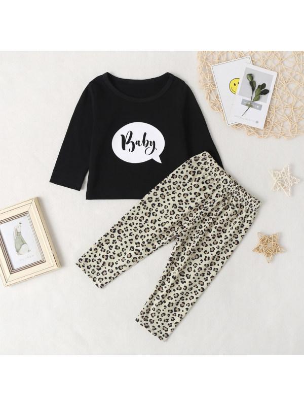 【3M-18M】Girl Long Sleeve Sweatshirt And Leopard Print Pant Set