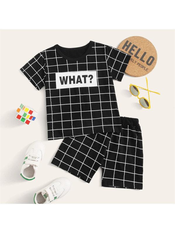 【18M-7Y】Boy Letter Plaid Print Short Sleeve Short Set