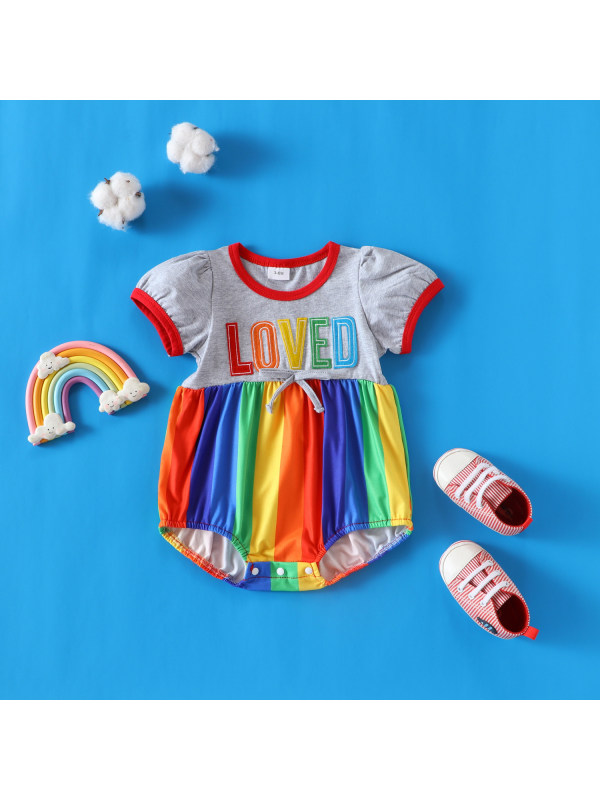 【0M-18M】Baby Letter Prints Embroidered Rainbow Triangle Romper