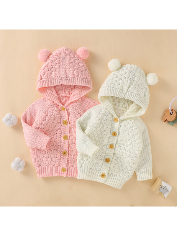【3M-24M】Baby Cute Hooded Long-sleeved Knit Coat