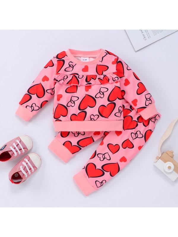 【0M-18M】Baby Two-piece Love Printed Ruffled Sweatshirt And Pant Set