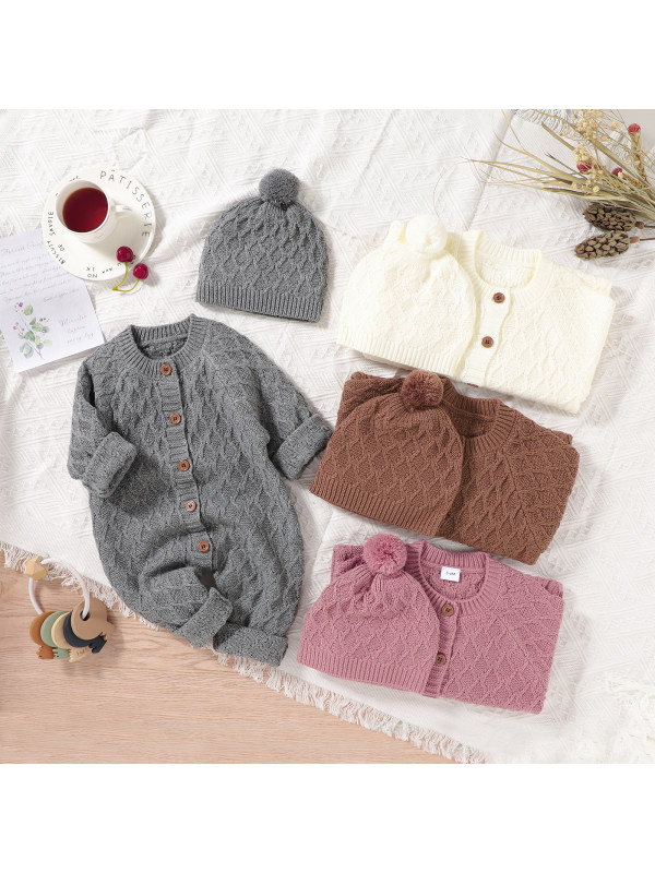 【3M-18M】Baby Solid Color Romper With Hat