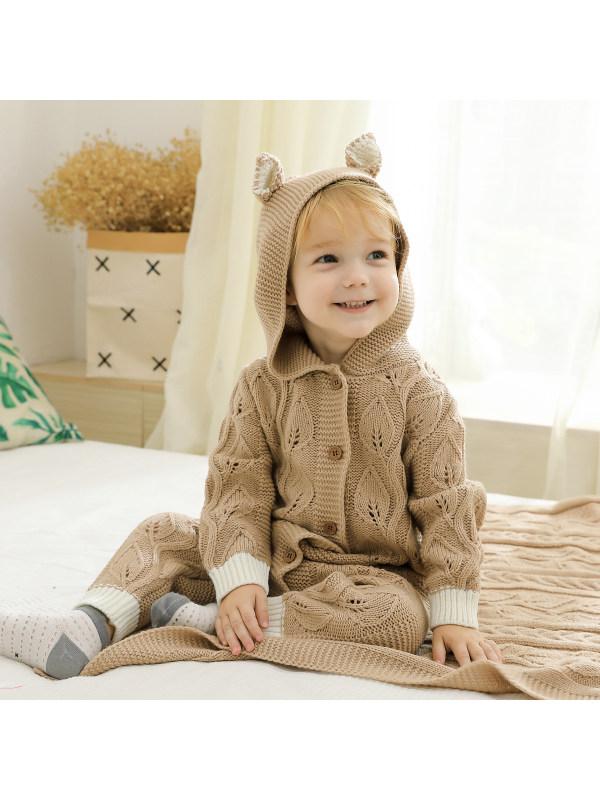 【3M-24M】Baby Boy 3D Ears Patched Button Front Knit Jumpsuit