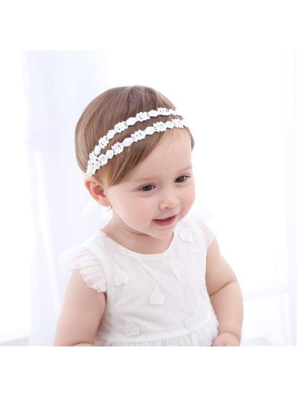 Baby Double-row Headdress With Pearl And Diamond Embroidery