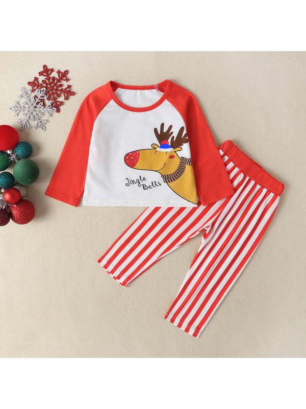 【3M-18M】Baby Christmas Elk Print Long Sleeve T-shirt And Pants Set