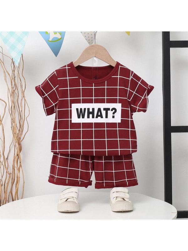【2Y-7Y】Boy Letter Plaid Print Short Sleeve Short Set