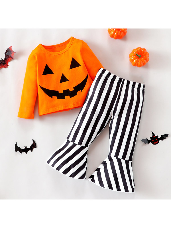 【3M-18M】Girls Halloween Style Top And Striped Pants Suits