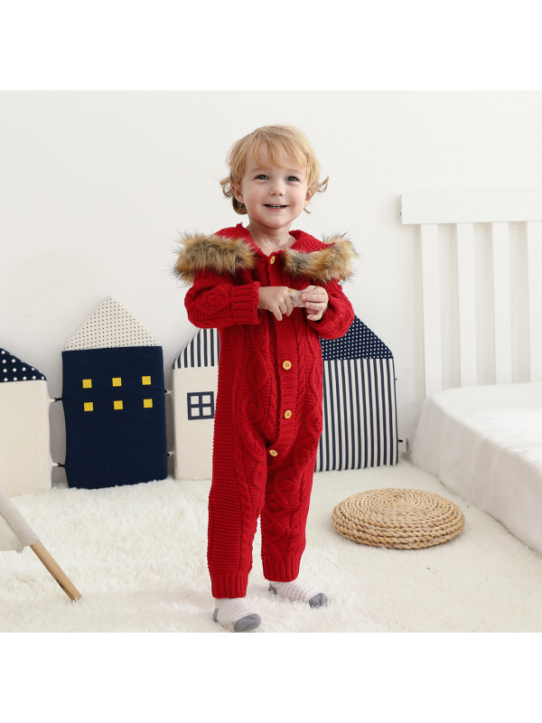 【0M-18M】Baby Long Legged Romper Infant Solid Color Hooded Romper