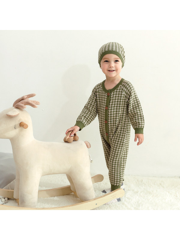 【6M-24M】Baby Long Sleeve Romper Cotton Casual Jumpsuits With Hat