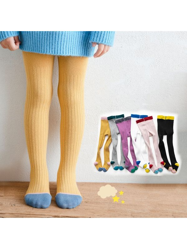 Girl Solid Color Knitted Ankle Pantyhose