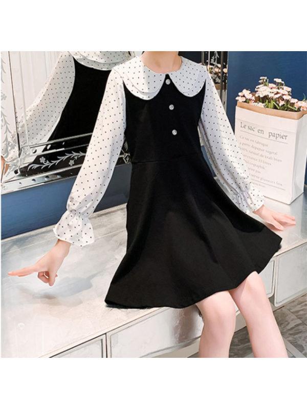 【3Y-13Y】Girls Sweet Double Collar Polka Dot Long Sleeve Dress