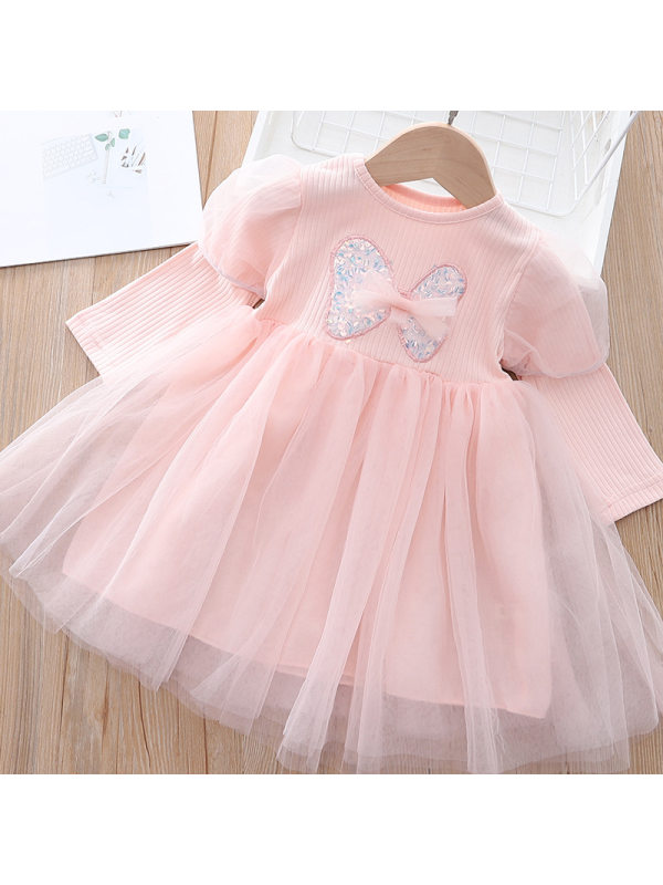 【18M-7Y】Girls Sweet Sequins Bowknot Puff Sleeve Layered Tulle Dress