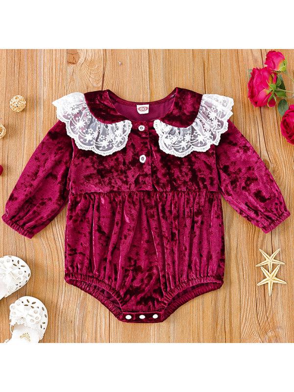【3M-24M】Baby Girl Sweet Red Velvet Long Sleeve Romper