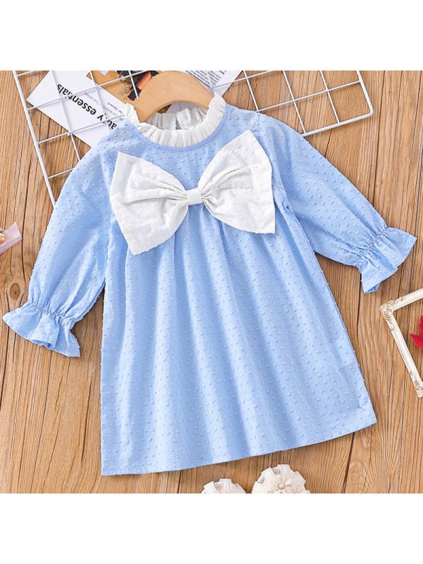 【3M-24M】Baby Girl Sweet Blue Bow Long Sleeve Dress