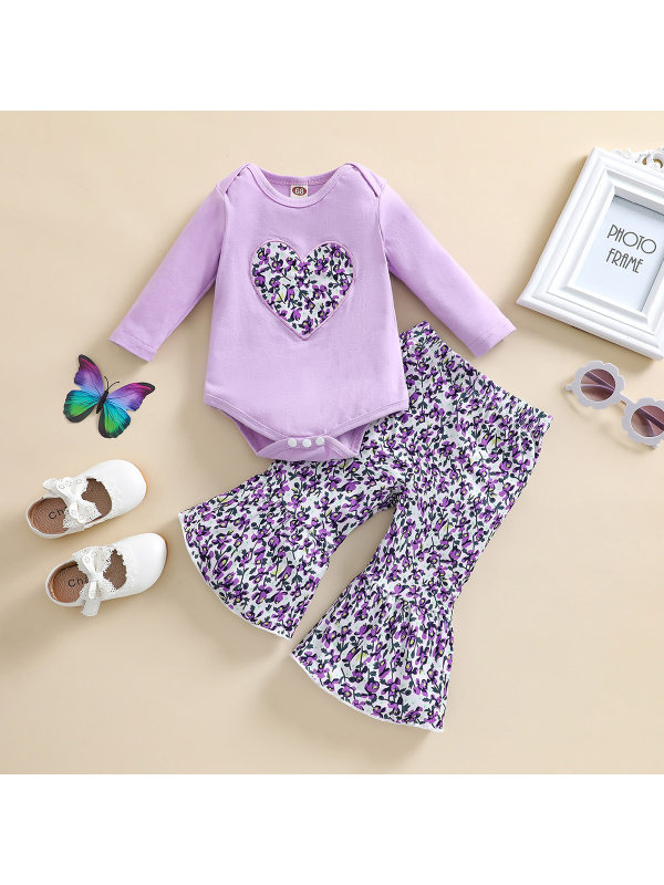 【3M-24M】Baby Round Neck Long Sleeve Romper And Floral Print Flare Pants Set