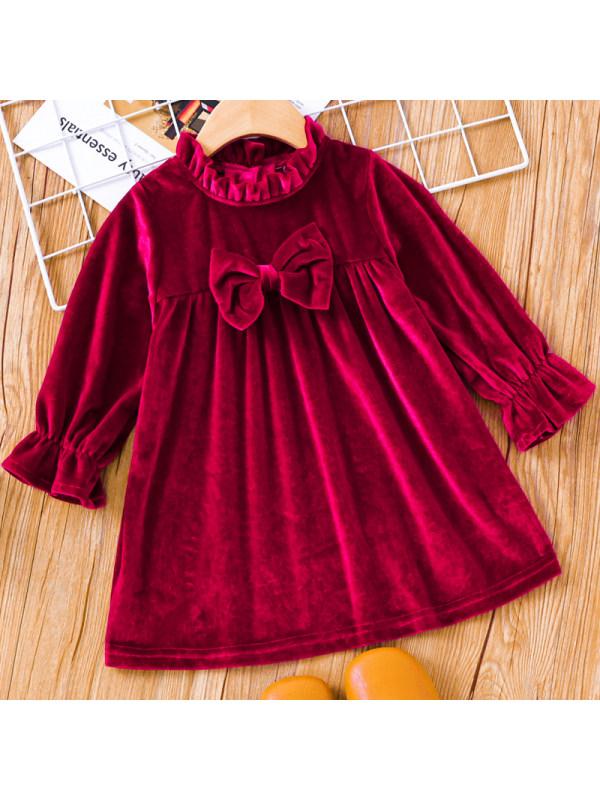 【3M-24M】Baby Girl Sweet Red Velvet Long Sleeve Dress