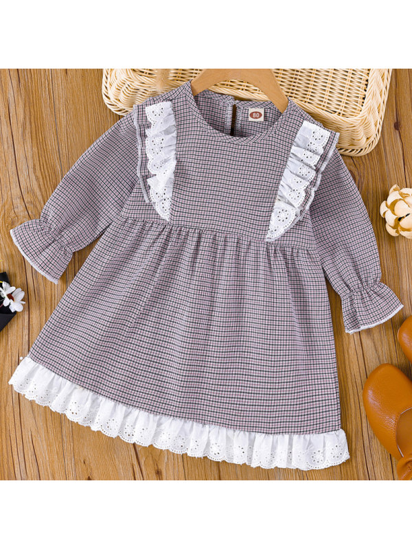 【3M-24M】Baby Girl Sweet Grey Houndstooth Long Sleeve Dress