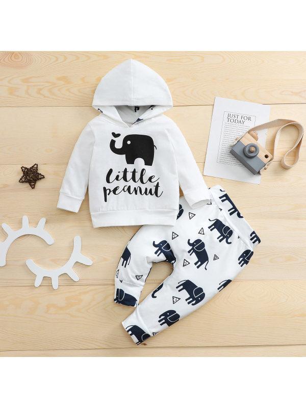 【3M-24M】Baby Hooded Elephant Print Sweatshirt And Pants Set