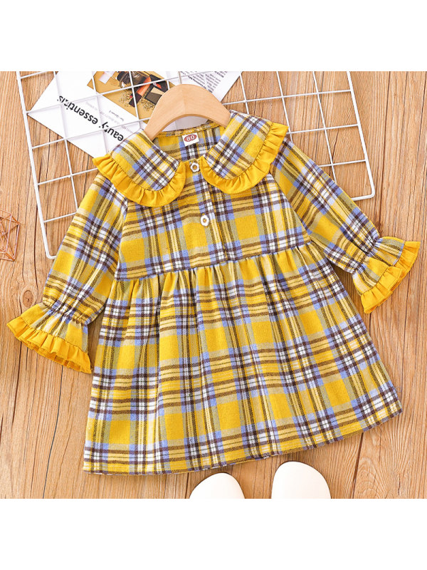 【3M-24M】Baby Girl Sweet Yellow Plaid Long Sleeve Dress