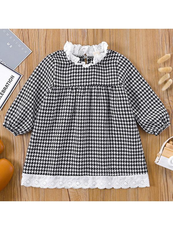 【3M-24M】Baby Girl Sweet Houndstooth Pattern Long Sleeve Dress