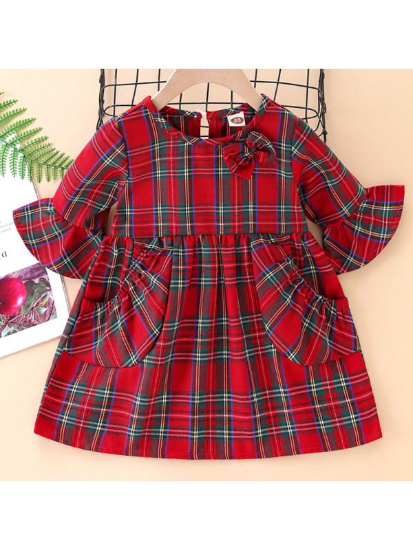 【3M-24M】Baby Girl Sweet Red Plaid Short Sleeve Dress