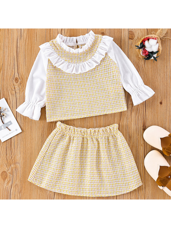 【3M-24M】Baby Girl Sweet Tweed Ruffle Shirt Skirt Set