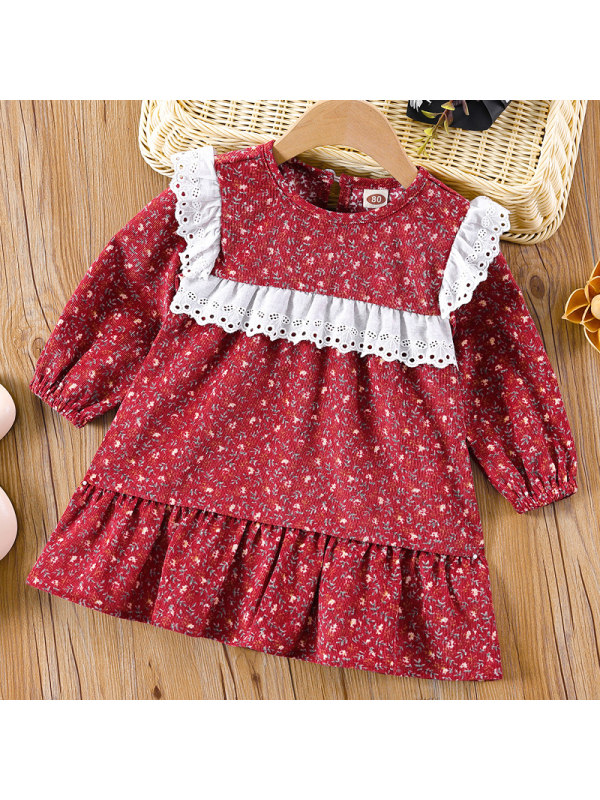 【3M-24M】Baby Girl Sweet Red Floral Lace Long Sleeve Dress