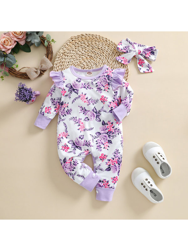 【3M-24M】Baby Round Neck Long Sleeve Floral Print Romper With Headband