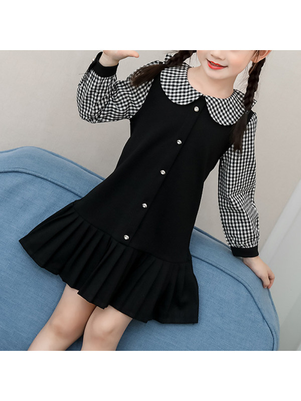 【3Y-11Y】Girls Sweet Black Plaid Lapel Long Sleeve Dress