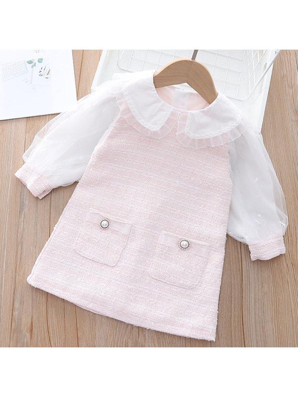 【18M-7Y】Girls Sweet Puff Sleeve Dollar Collar Splicing Dress