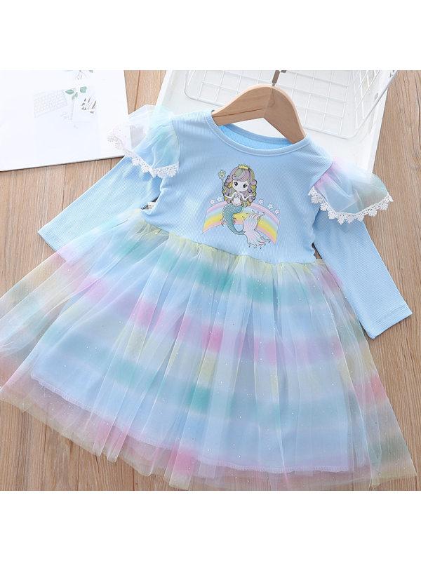【18M-7Y】Girls Sweet Mermaid Print Rainbow Layered Tulle Dress