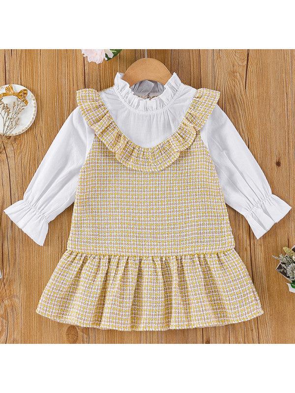【3M-24M】Baby Girl Sweet Tweed Ruffled Long-sleeved Dress