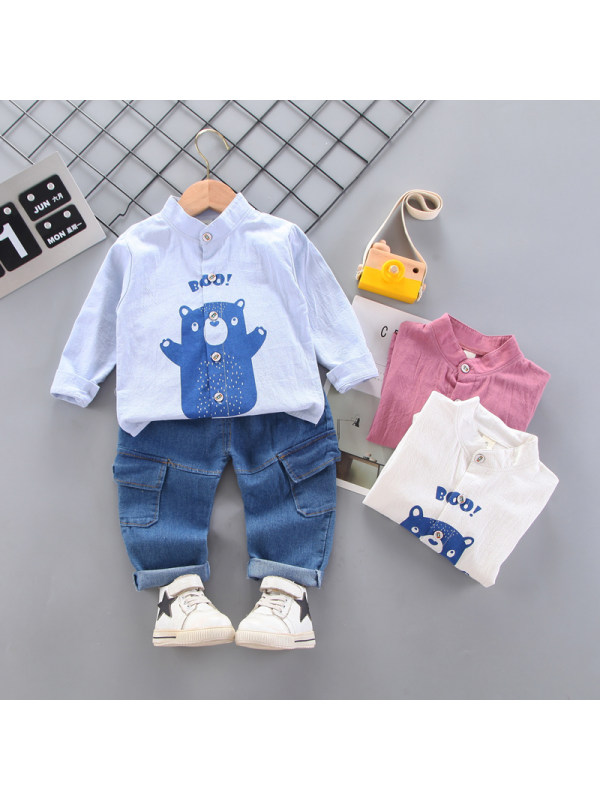 【9M-3Y】Boys Cartoon Print Long-sleeved Shirt And Pants Two-piece Suit