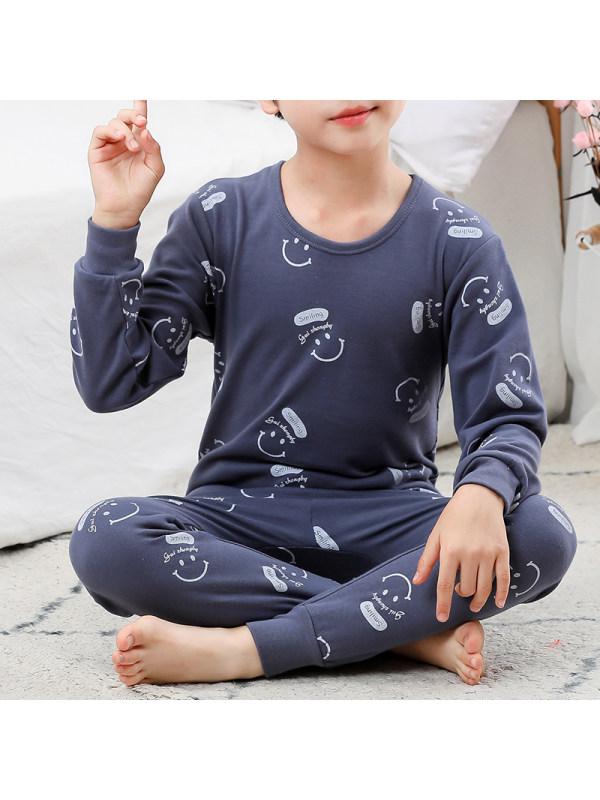 【2Y-13Y】Boys Cartoon Print Long-sleeved Home Service Two-piece Suit