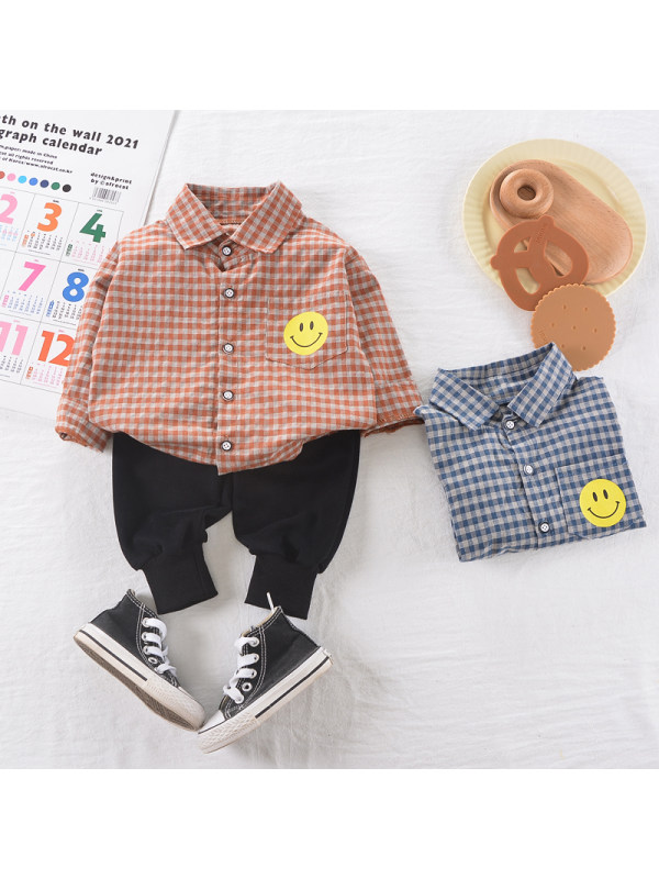 【9M-3Y】Boys Plaid Pattern Long-sleeved Shirt And Pants Two-piece Suit