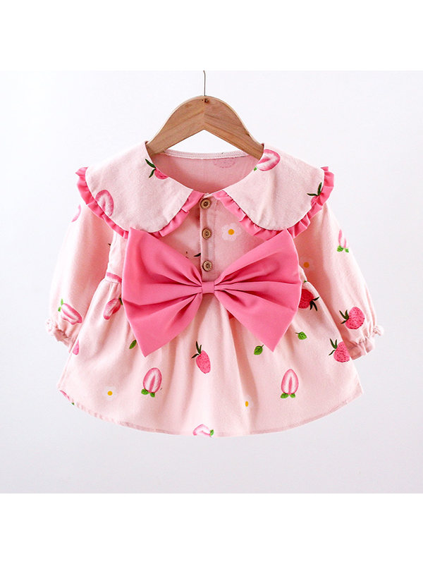 【12M-4Y】Girls Fruit Printed Bowknot Decorated Long Sleeve Dress