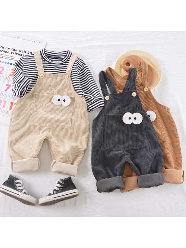 【9M-3Y】Boys Striped Long-sleeved Shirt And Bib Two-piece Suit