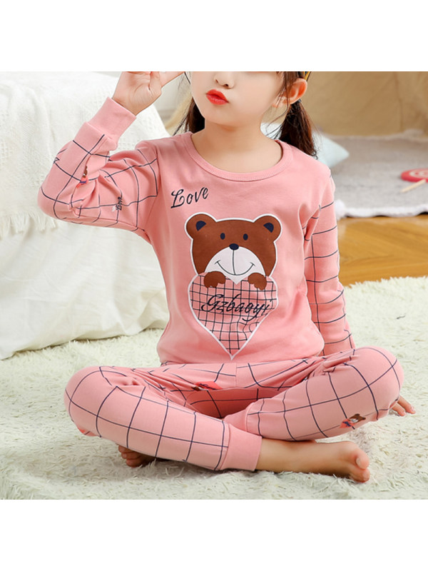 【2Y-13Y】Girls Cartoon Print Long-sleeved Home Service Two-piece Suit