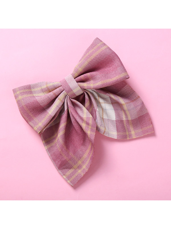 Girls Color Plaid Swallowtail Bow Hairpin