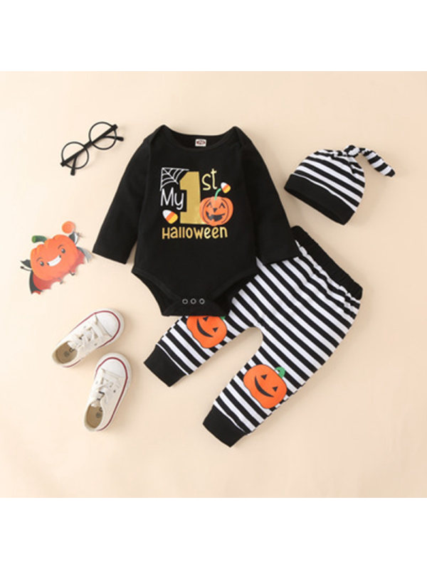 【0M-12M】Baby Girls Letter Pumpikin Long Sleeve Romper And Pants Set With Hat 3-piece Suit