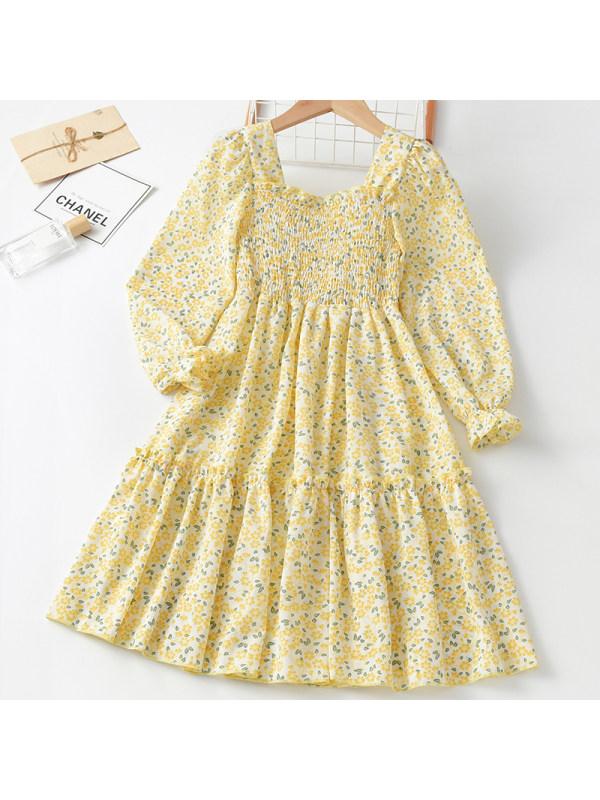 【3Y-11Y】Girl Sweet Yellow Floral Long Sleeve Dress